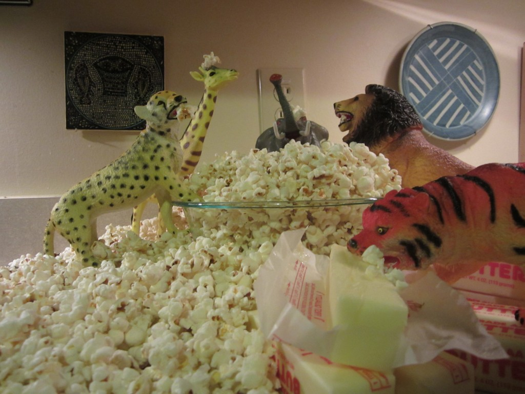 My toys like popcorn! They  made popcorn last night when they came alive.