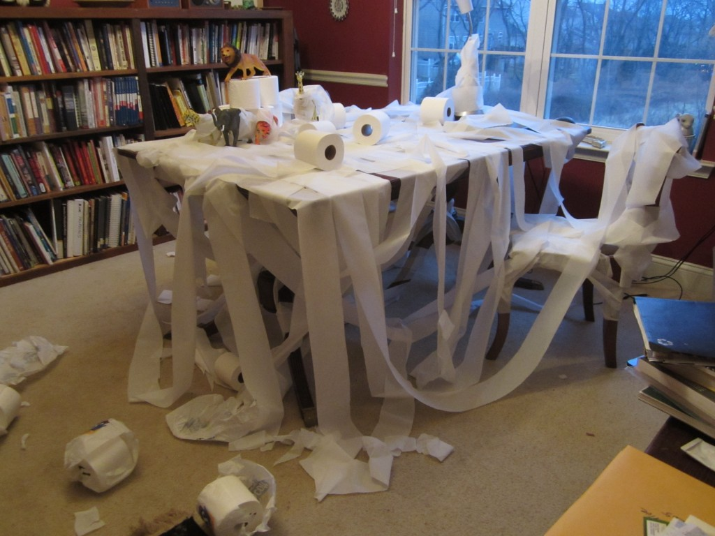 My toys toilet papered my desk.