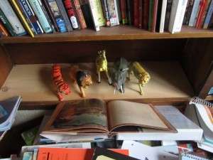 The toys emptied out the bookcase.