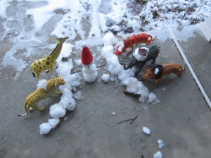 My toys had a snowball fight. Girls against the boys.