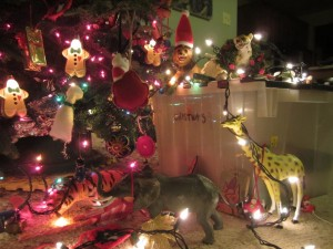 The toys decorated the Christmas tree.