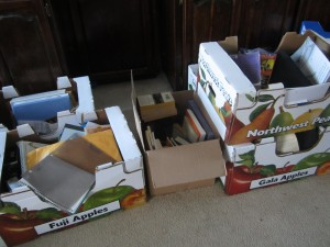 4 boxes of books to sort