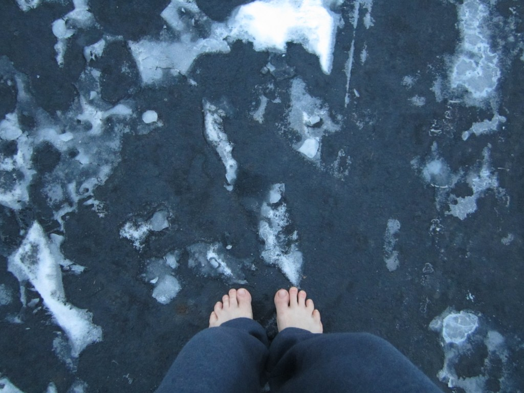 Running barefoot in the ice