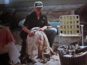 William Fernuik, my father, fleshed the bear I shot