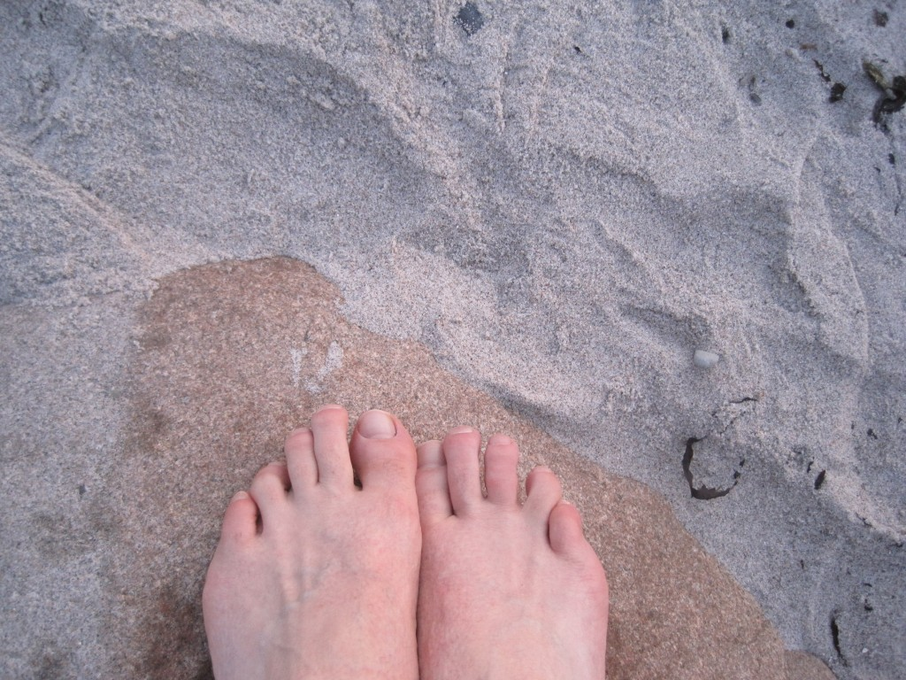 Bare feet on the beach in Nyborg, Denmark