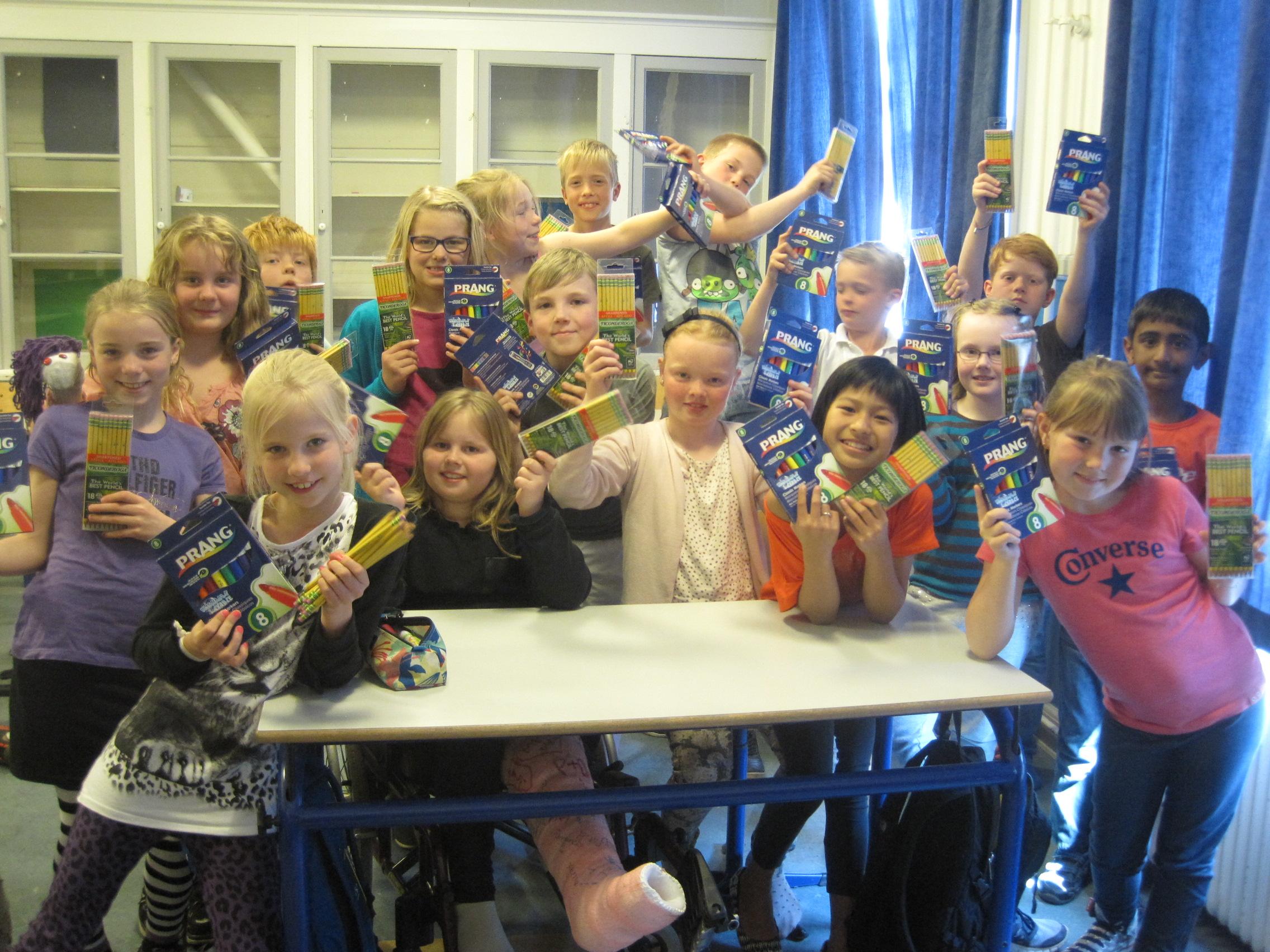 Dixon Ticonderoga donate pencils to a class in Denmark