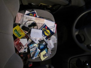 The contents of the glove compartment.