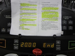 Memorizing lines while walking on the treadmill