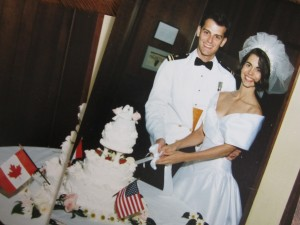 Two flags on my wedding cake