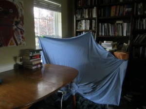 A fort to play in a house that is a home.