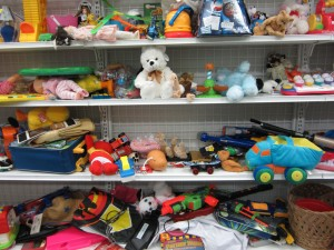 Toys in a thrift store