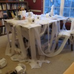 My toys were upset with me last night. They toilet papered my writing desk.